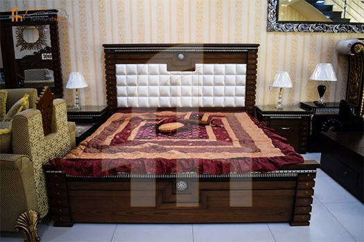 FH-5524 Ring Ash Wood Bed and Two Side tables