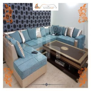 Wooden SOFA Set (L-Shape) With Blue Elegant Cushions