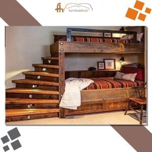 Bunk Bed Design With The Wooden Stairs Style At Furniturehub.Pk
