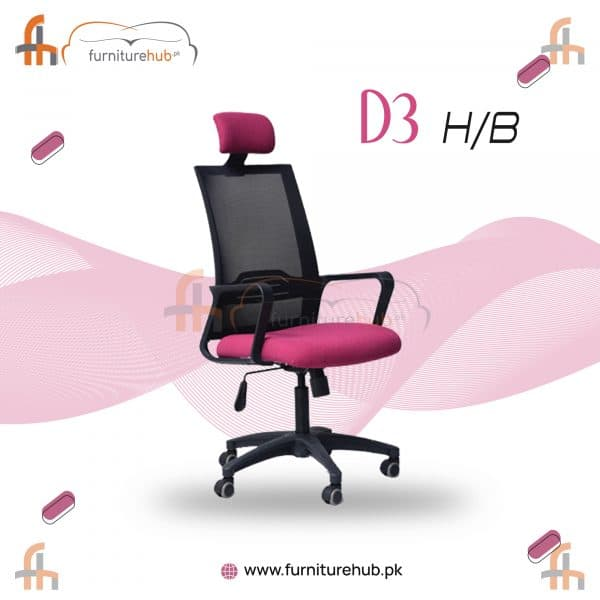 High Back Chair In Pink And Black For Office Use Available At Furniturehub