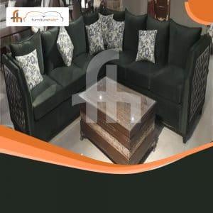 Black Velvet L-Shape Sofa With Cushions On Sale At Furniturehub.Pk
