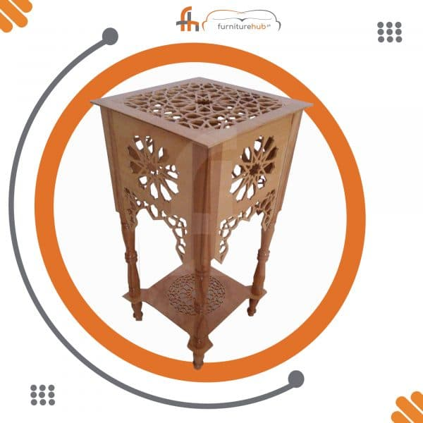 Wooden Corner Table With Fine Wood Carvings Avaialble At Furniturehub