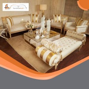4 Piece Sofa Set In Gold And White Avaialble On Sale At Furniturehub.PK