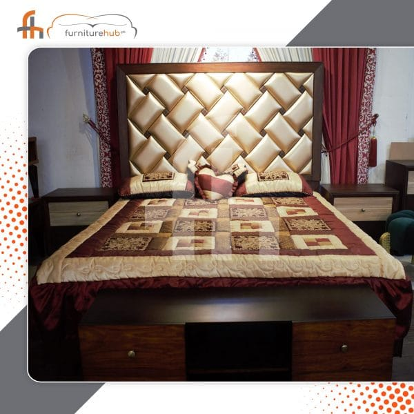 Full Bed Set With Chain Style Tufting Back On Sale at Furniturehub.Pk