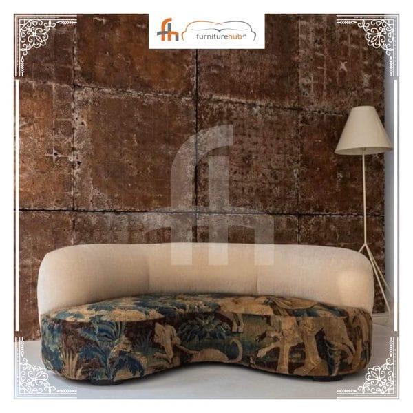 Couch U-Shape Printed Artistic Design BuyOnlineFurniture