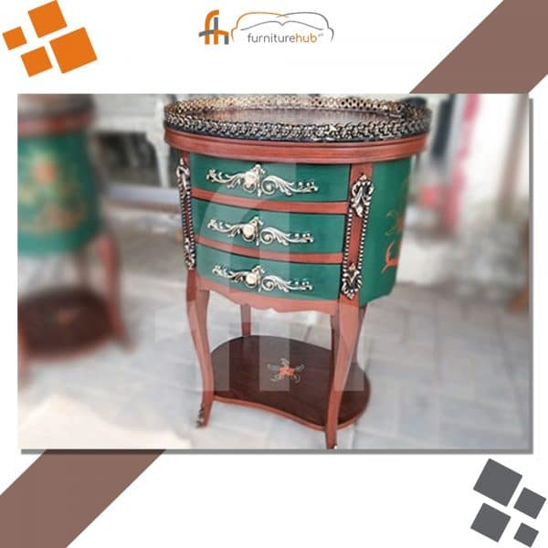 Small Corner Table In Green Hand-Painted Design At Furniturehub.Pk