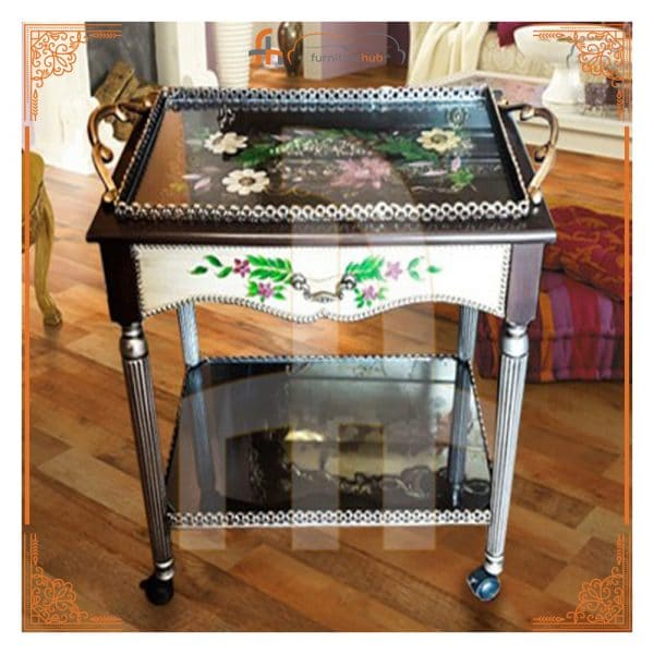 Tea Trolley Hand-Painted Tray Style Avaialble On Sale At Furniturehub.Pk