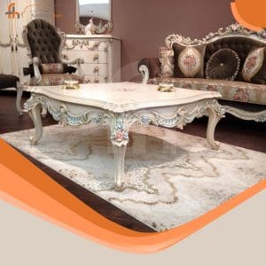 Wooden Center Table With Flower Detailing On Sale At Furniturehub.pk