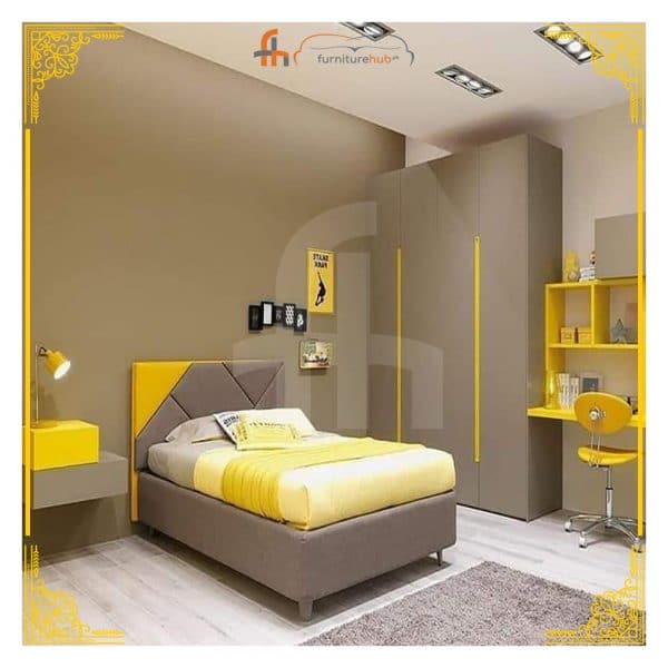 Yellow Bed Set With 1 Side Table Available On Sale At Furniturehub.Pk