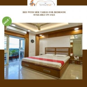 Bed With Side Tables For Bedroom Available On Sale At Furniturehub.Pk