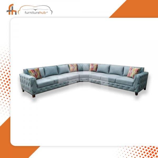7 Seater L shape Sofa In Blue Color On Sale At Furniturehub.Pk