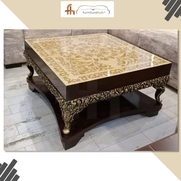 Wooden Center Table For Living Room In Square Shape At Furniturehub