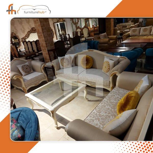 White Chrome Sofa Set With Finishing On Sale At Furniturehub.Pk
