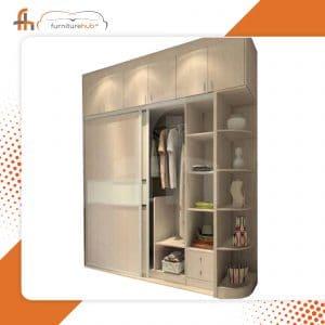 3 Door Sliding Wardrobe In White With Shelf Avaialble At Furniturehub.Pk