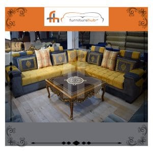 Recliner 7 Seater Sofa In Blue And Gold On Sale At Furniturehub.Pk