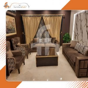 Brown Velvet Sofa Set On Sale Exclusively Available At Furniturehub.Pk