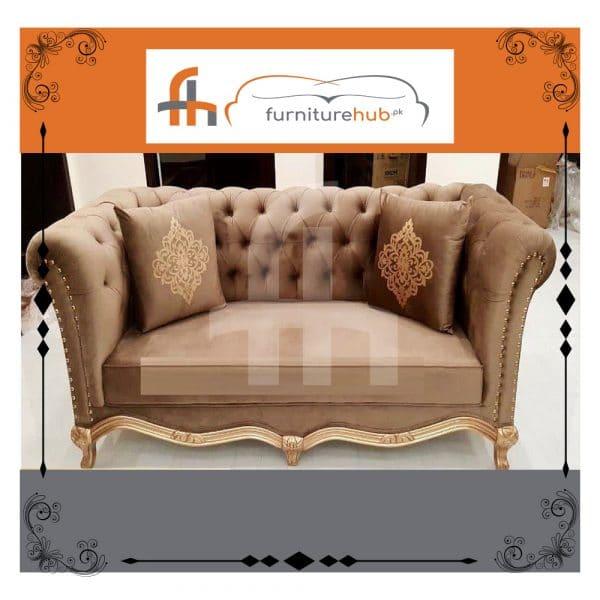 Brown Gold Sofa Set Bespoke Design On Sale At Furniturehub.Pk