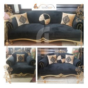 Black Sofa With Gold Combination On Sale At Furniturehub.Pk