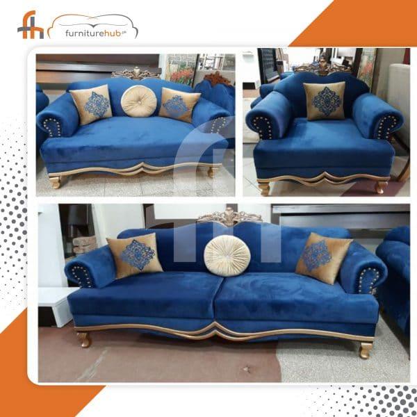 Blue Sofa Royal Design With Gold Borders On Sale At Furniturehub.Pk