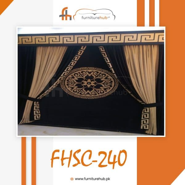 Room Curtain Design In Black Chinese Style Available At Furniturehub.Pk