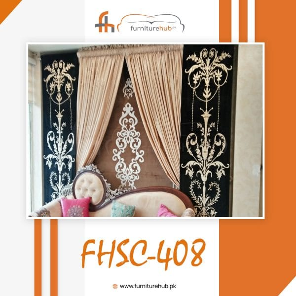 Floral Curtains Design In Black Available On Sale At Furniturehub.PK