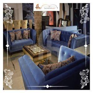 Sofa Set In Blue Velvet (3+2+1) Available On Sale At Furniturehub.Pk