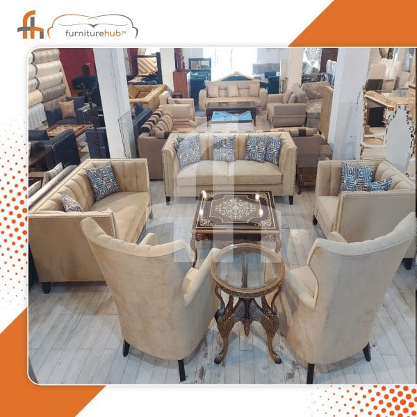 Lobby Sofa Design In Hazel Brown Available On Sale At Furniturehub.Pk