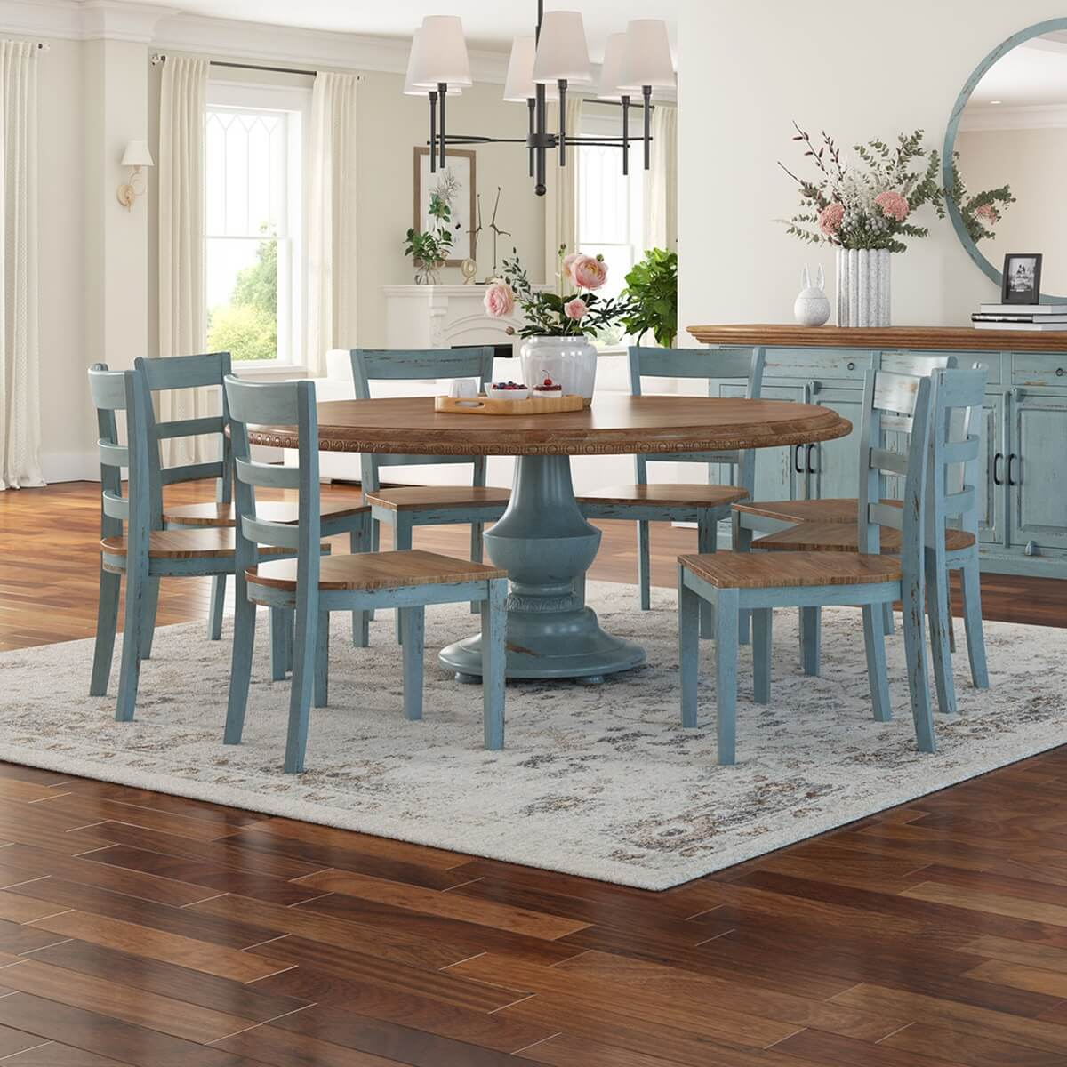 Solid Wood Round Dining Table Chair, Farmhouse Dining Room
