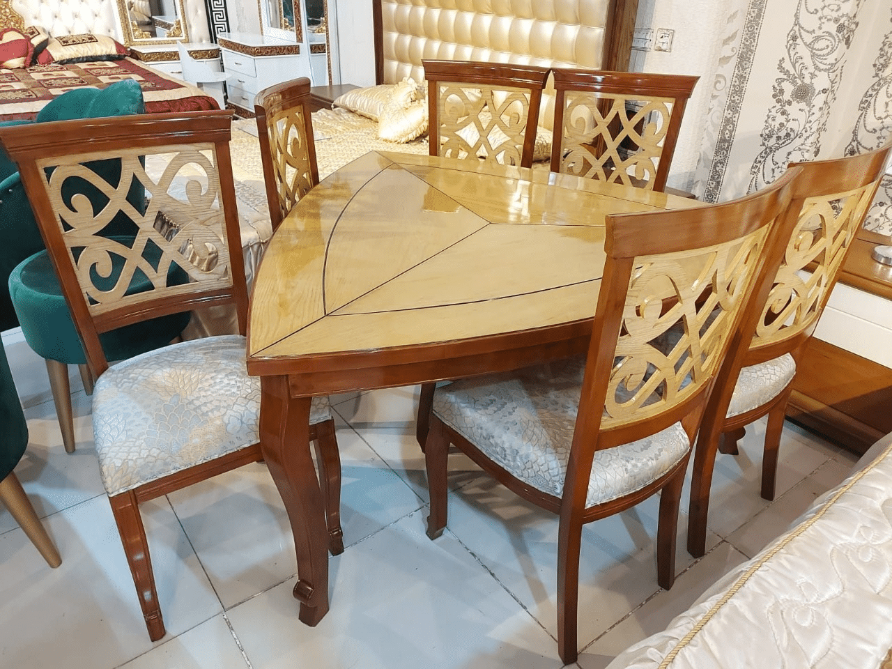 FH-1750 Smart triangle 6 chairs dining set
