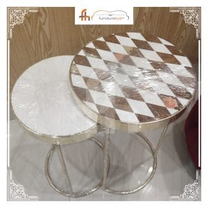 Check Table Design In Brown And White Combination At Furniturehub.Pk