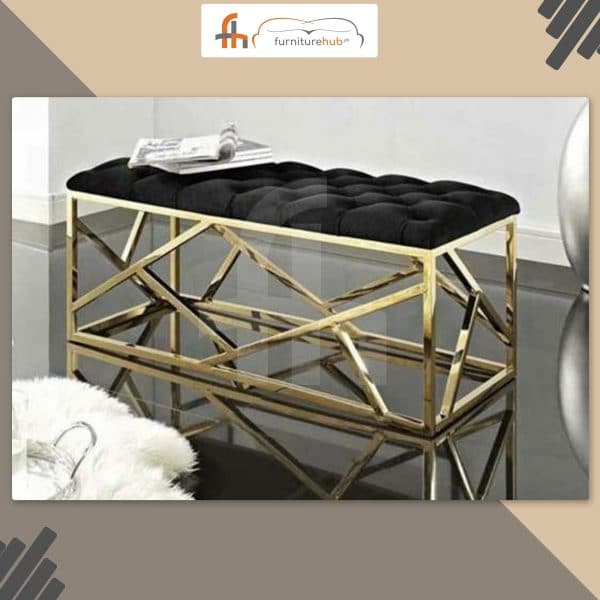 Black Couch In Brass For Your Room Available At Furniturehub.Pk