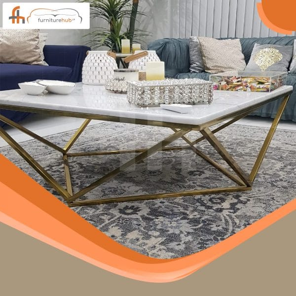 Brass Sofa Table Made In Elegant Shape Available At Furniturehub.Pk