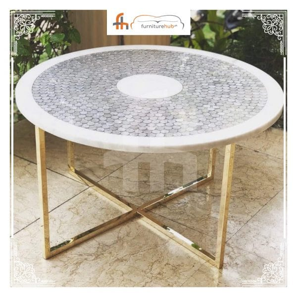 Marble Coffee Table Pebbles Technique Design Available