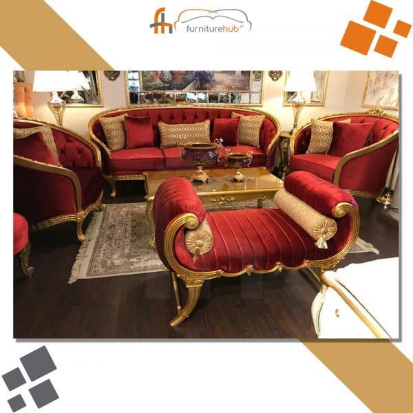 Red Velvet Sofa Set Luxury Product Available At Furniturehub.Pk