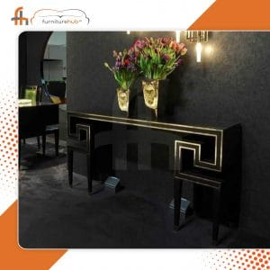 Solid Wood Console Table In Black Available On Sale At Furniturehub.Pk