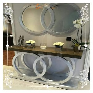 Mirrored Console Table Spiral Stand Design Available At Furniturehub.Pk
