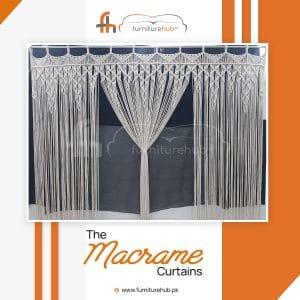 Macrame Curtain Panel Diamond Style Strings Available At Furniturehub