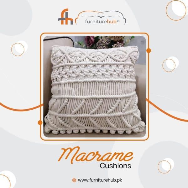 White Macrame Cushion Available On Sale At Furniturehub.PK