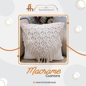 White Cushions In Macrame Available On Sale At Furniturehub.Pk